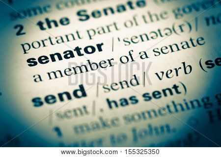 Close Up Of Old English Dictionary Page With Word Senator