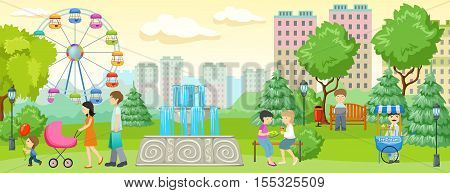 City park with people composition people walking and having fun in the park next to residential buildings vector illustration