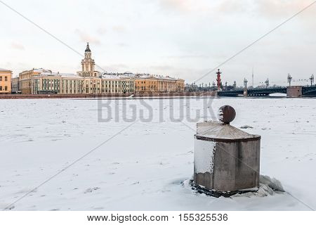 view of the cabinet of curiosities and the bridge at dawn in winter in St. Petersburg. Russia
