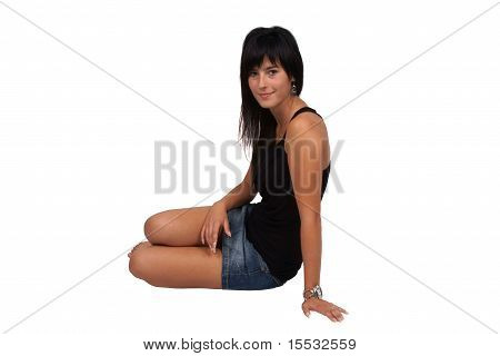 Girl sitting on the floor