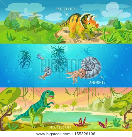 Animals jurassic banners set with triceratops ancient conch and tyrannosaurus on wildlife background isolated vector illustration