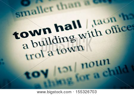 Close Up Of Old English Dictionary Page With Word Town Hall