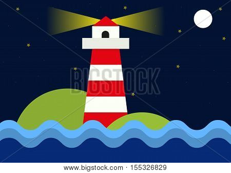 Simple flat illustration of lighthouse during night - seashore with beacon wavy sea moon and shinig stars in background