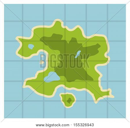 Flat illustration map with white border; fictional fantasy island in the middle of sea. cartography or geography icon