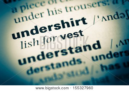 Close Up Of Old English Dictionary Page With Word Undershirt