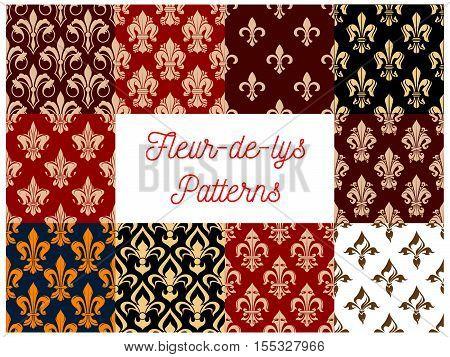 Fleur-de-lys royal lily seamless patterns set. Vector french fleur-de-lis royal heraldic flower decorative luxury elements for interior decoration background