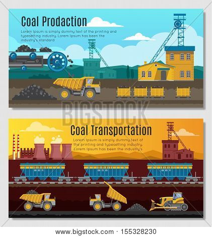 Two mining industry horizontal banners set with coal extracting and transportation conceptual compositions with outdoor scenery vector illustration
