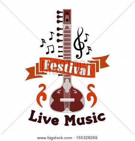 Live folk ethnic music festival vector emblem. Musical label design with string music istrument guitar, banjo, gambusi, biwa, koto, music, notes, clefs, red ribbon for placard, concert poster, music fest banner