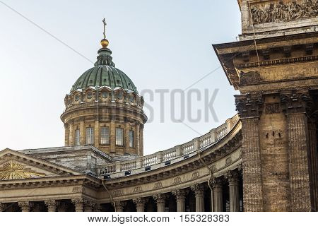 Closeup of Kazan Cathedral in St Petersburg, Russia. Architecture landscape of St Petersburg landmark