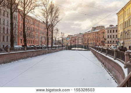 Canal Griboedov in Saint-Petersburg winter morning. architecture