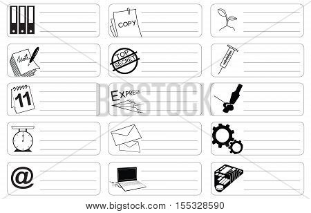 Science and industry icon symbol business sticker item print for short note and clipping paths.