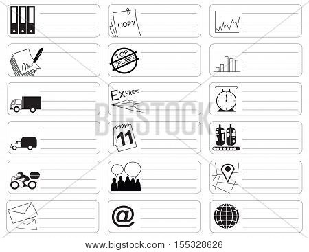 Transport icon symbol business industry sticker item print for short note art line black and white color and clipping paths.