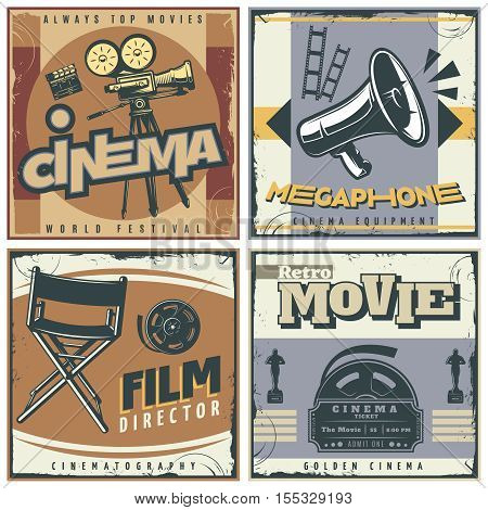 Four squares composition in retro style with cinema movie making symbols film directors chair megaphone vector illustration
