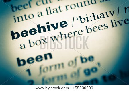 Close Up Of Old English Dictionary Page With Word Beehive
