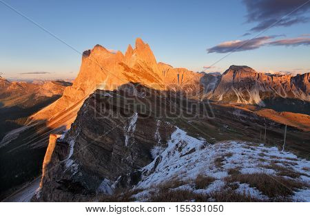 peak Seceda hills of Odle group at Val Gardena Dolomites Italy