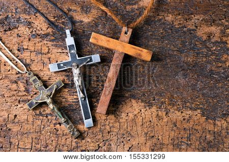 Religious antique crosses, metal for nuns and wooden for monks