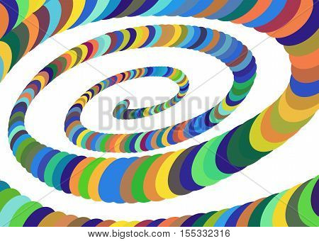 Colorful Abstract Spiral Converging to the Center. Elliptical Design Element. Vector Illustration.