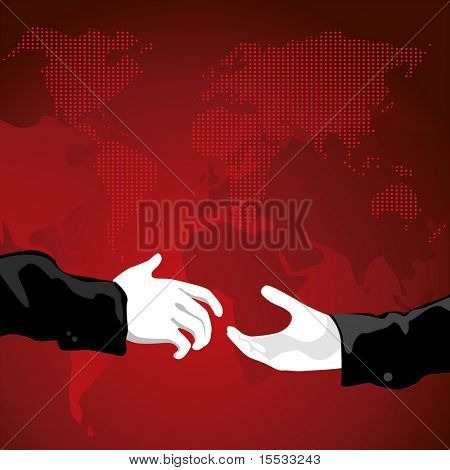 two businessmen shaking hands with the world in the background.