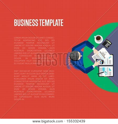 Top view business workplace, vector illustration. Overhead view of businessman working with financial documents at office desk. Business people template with space for text on red background.