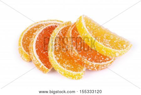 Fruit jellies. Jelly candies citrus in form lobules isolated on a white background