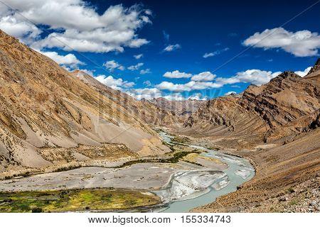 Himalayan landscape in Himalayas along Manali-Leh road. Ladakh, India