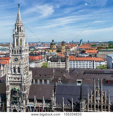 Aerial view of Munich over Neues Rathaus, Theatine Church of St. Cajetan (Theatinerkirche St. Kajetan) and Odeonplatz, Munich, Bavaria, Germany