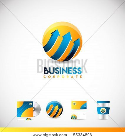 Blue orange sphere arrow 3d concept vector logo icon sign design template corporate identity