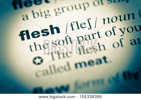 Close Up Of Old English Dictionary Page With Word Flesh