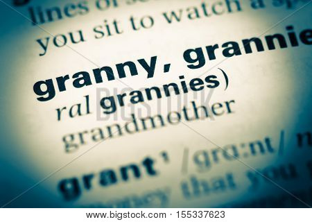 Close Up Of Old English Dictionary Page With Word Granny
