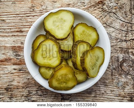 Bowl Of Pickled Cucumber, From Above