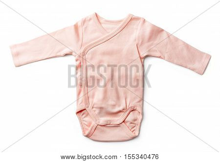 Pink Baby Girl's Bodysuit Isolated On White