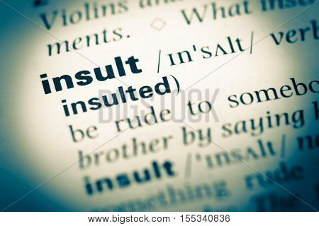 Close Up Of Old English Dictionary Page With Word Insult