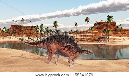 Computer generated 3D illustration with the dinosaur Kentrosaurus at a waterhole