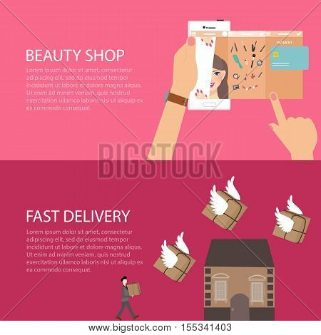 beauty online shop make-up from gadget phone fast delivery send package fly to home vector