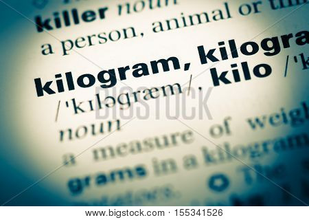 Close Up Of Old English Dictionary Page With Word Kilogram