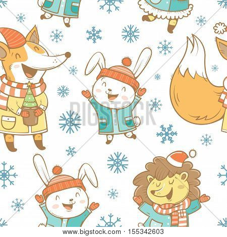 Seamless pattern with cute cartoon hares, hedgehogs, foxes  in coat and snowflakes on white  background. Winter time. Snowy weather. Funny animals in clothes. Vector image. Children's illustration.