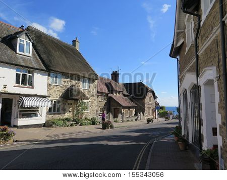 Houses in Main Street in Beer Village centre Devon England UK GB EU Europe