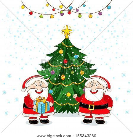 Christmas Santa Claus characters vector. Merry Christmas and Happy New Year. Funny Santa Claus. Santa Claus with christmas tree. Xmas santa and christmas tree. Santa Claus and christmas tree flat design. Santa Claus red hat. Christmas Santa Claus. Christm