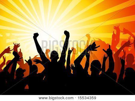 Publikum durch Musik und Licht gestrahlt