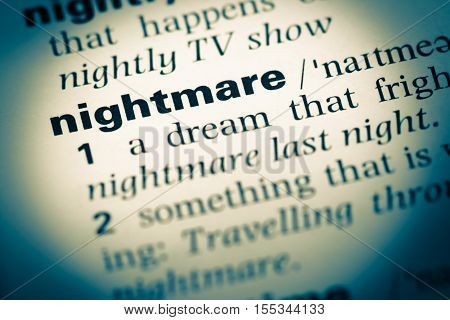 Close Up Of Old English Dictionary Page With Word Nightmare