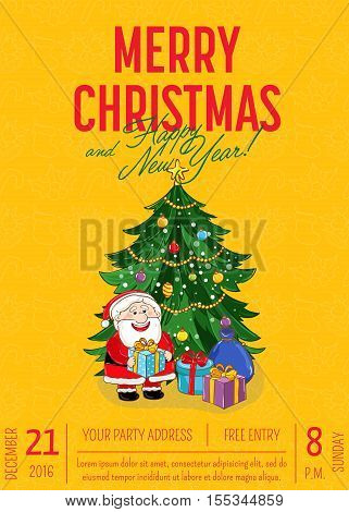 Christmas party poster vector illustration. Invitation poster on christmas party. Xmas celebration poster or Christmas poster design template. Christmas party poster layout or holiday poster. Xmas celebration. Christmas elements. Christmas decoration.