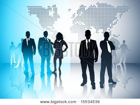 Business people with a world in the background. Vector illustration.