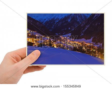 Solden Austria photography in hand (my photo) isolated on white background