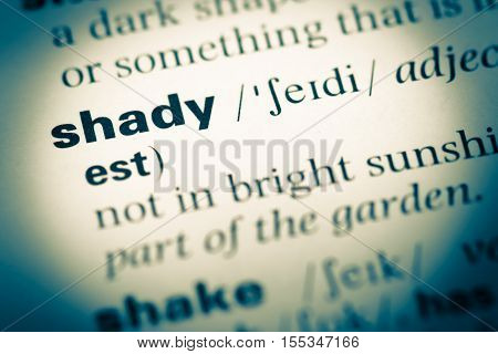 Close Up Of Old English Dictionary Page With Word Shady