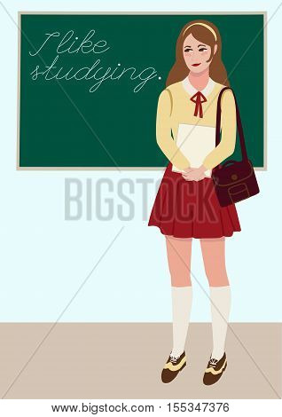 Vector flat illustration of young student girl in classroom on the background of blackboard.