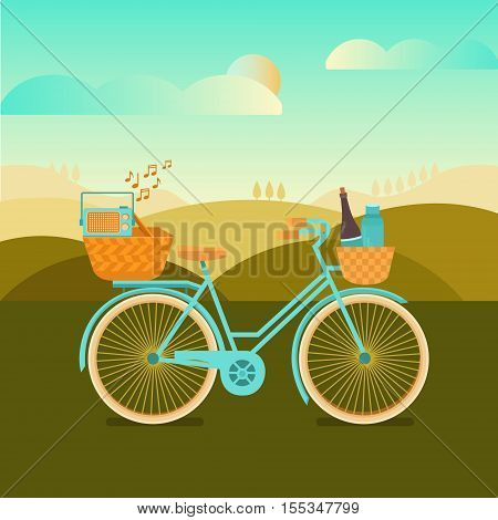 Illustration to go camping or a picnic. Vector background with landscape and bicycle. Banner weekend outdoors. Activity and sport in nature.