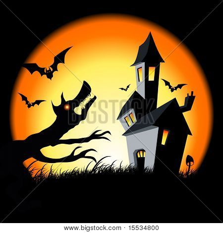 Scary haunted halloween house! Vector illustration.