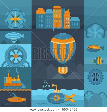 Vector background steampunk. Set of objects: balloon submarine airship vintage train city fish and other. Vintage template for banners cards postcards web pages covers and posters.
