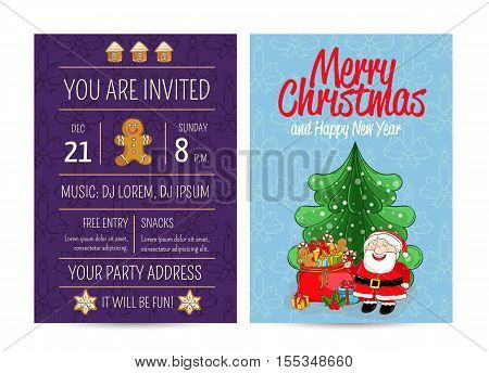 Cheerful Santa near sack of gifts, christmas tree, gingerbread. Merry Christmas and Happy New Year greetings. Template of christmas party invitation. Design for christmas party invintation. Christmas concept. Ad for christmas party. Merry Christmas