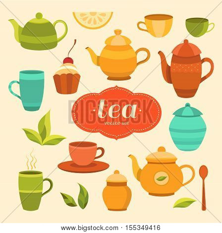 Tea collection of vector elements. Set of objects for design. Template for background packaging print banner label tag card flyer.